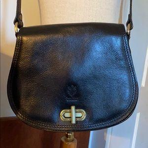 Vera Pelle Black Leather Crossbody Made in Italy